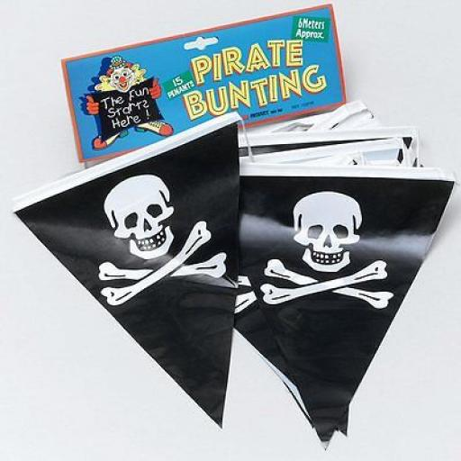Pirate Bunting Plastic 15 penants 6 Meters Approx
