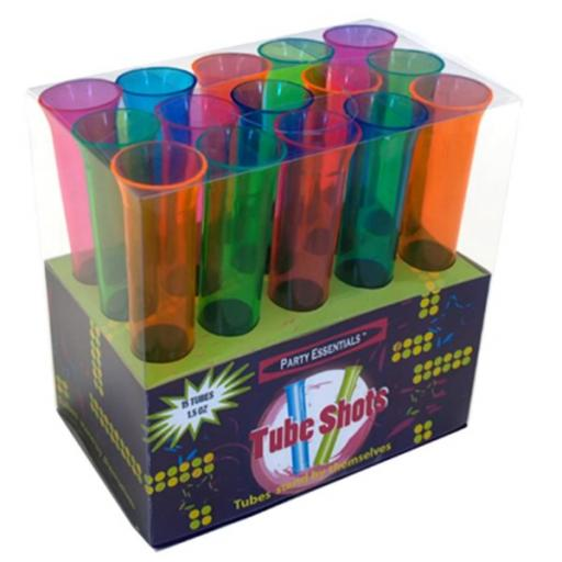 Party Essentials Brights 15 Assorted Plastic Tube Shots