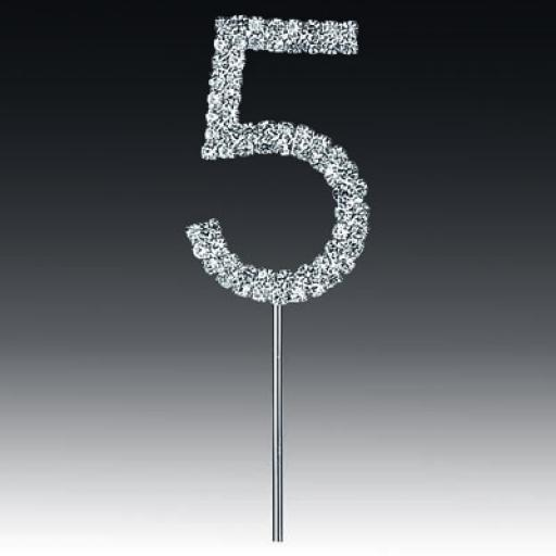 Diamante 5th Birthday Cake Topper Decoration