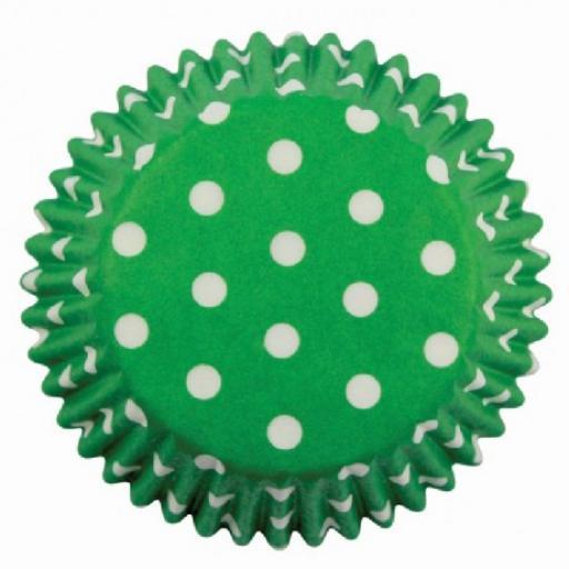 Green Polka Dots Cupcake Cases 60pcs