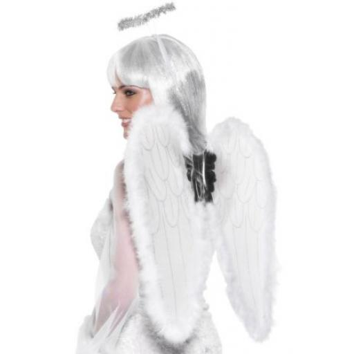 Wings & Halo Angel Set - White & Silver 55cm x 50cm