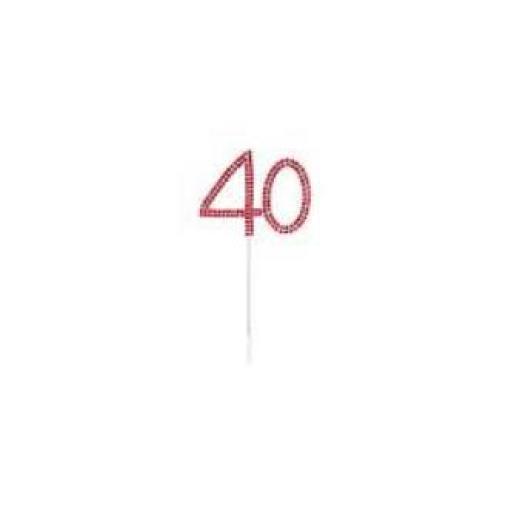 Diamante 40th Birthday Cake Topper Decoration