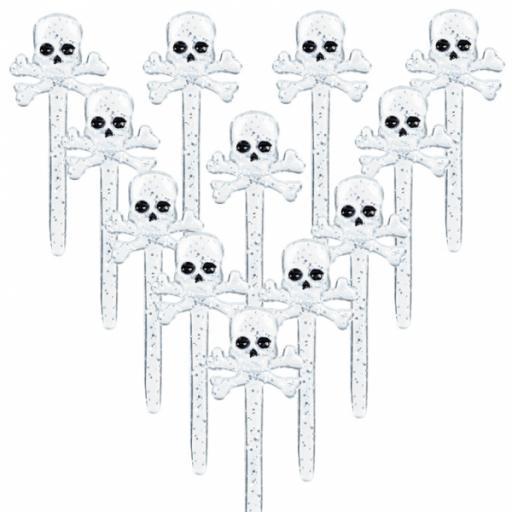 Skull & Crossbones Electroplated Party Picks 12/pkg