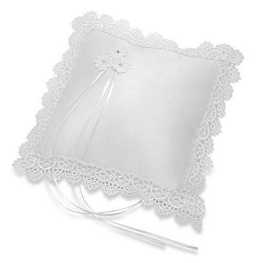 Ring Cushion- White Satin Square Lace Scalloped 210 x 210