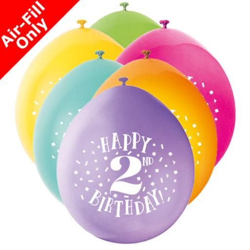 9 inch Happy 2nd Birthday Latex Air Fill Balloons Pack of 10 Assorted Colours