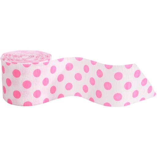 Crepe Streamer 30 ft Hot Pink Dots
