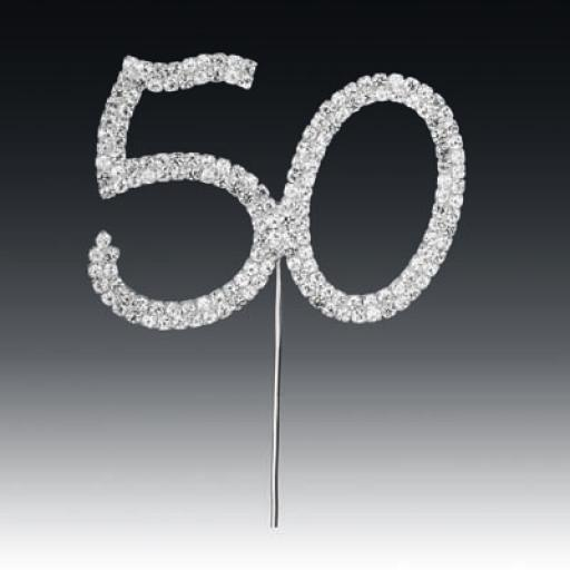 Diamante 50th Birthday Cake Topper Decoration