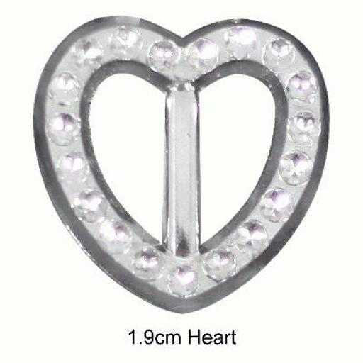 Diamanté Effect Buckles 10pcs - 1.9cm Heart