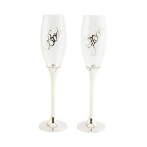 Silver Plated Stem Groom & Bride Design Champagne Drinking Glass Flutes