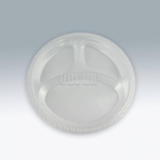 "3 Compartment Clear Plastic Plates 9""-50/pkg"