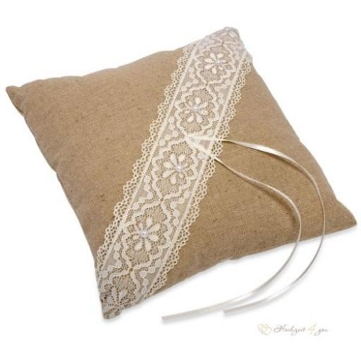 Ring Cushion -Brown With White Lace 210x210