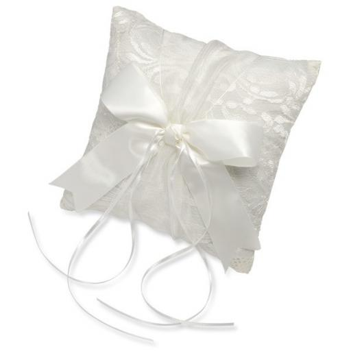 Ivory Satin Square Ring Cushion Lace/Ribbon 210 x 210 mm