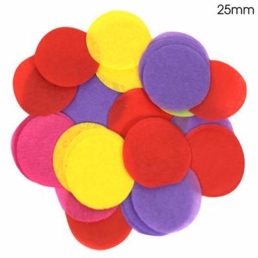Tissue Paper Confetti Flame Retardant Round 25mm x 100g Mixed colours