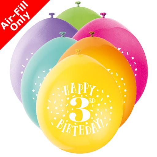 9 inch Happy 3rd Birthday Latex Air Fill Balloons Pack of 10 Assorted Colours