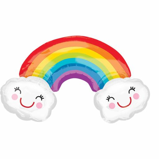 Rainbow with Clouds SuperShape Foil Balloon 37x22 inch