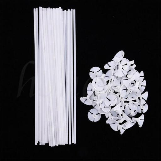 Balloon Sticks & Cups White Plastic Bag of 100pcs