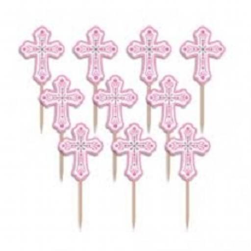 Religious Pink Cross Party Picks 36pcs