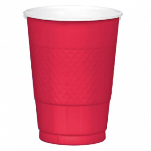 50 Apple Red Plastic Cups 473ml