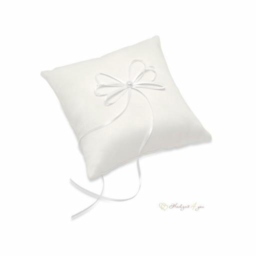 Ivory Satin Square Ring Cushion With Ribbon 195 X 195