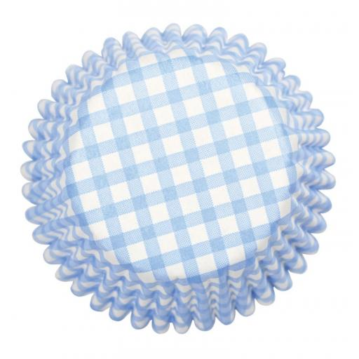 Blue Gingham Printed Baking Cases 54 pcs