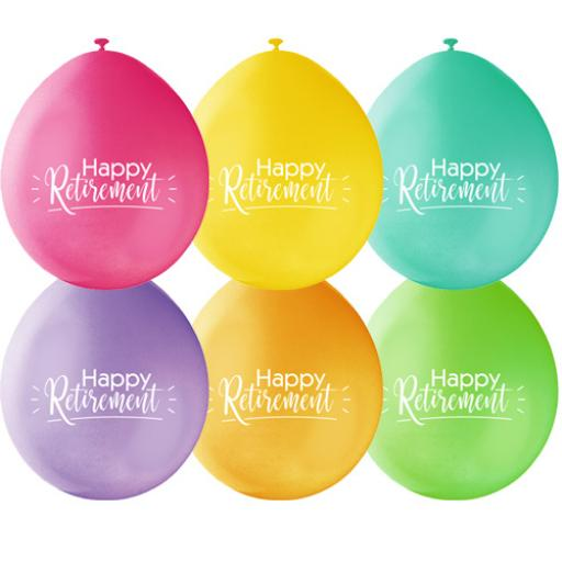 9 inch Happy Retirement Latex Air Fill Balloons Pack of 10 Assorted Colours
