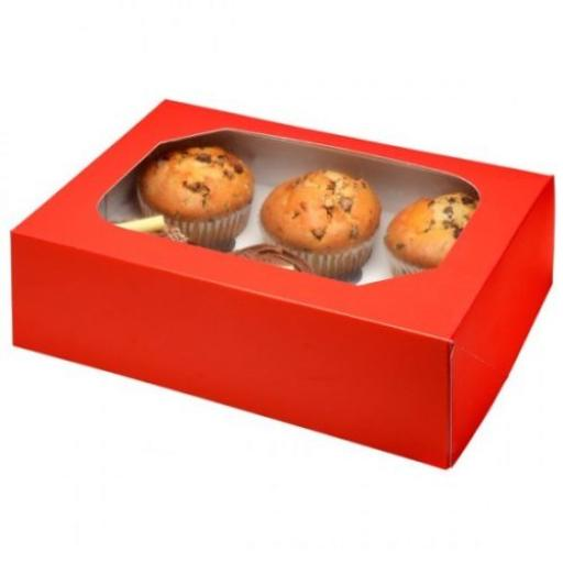 Club Green 6 Cupcake Boxes Red 2/pack