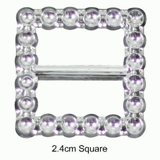 Diamanté Effect Buckles 10pcs - 2.4cm Square