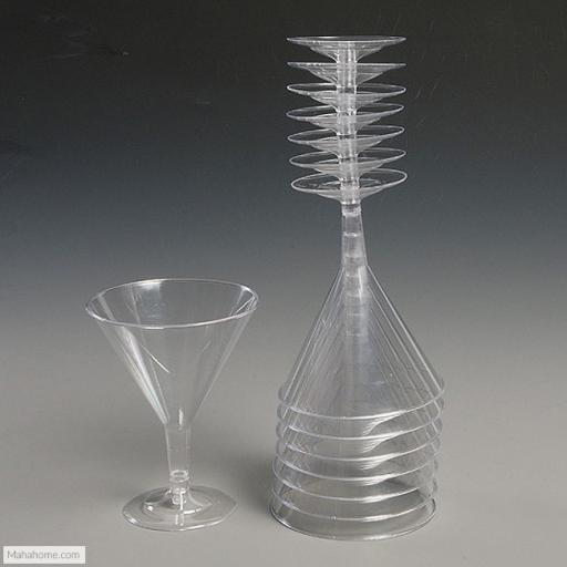 6 Disposable Clear Plastic Martini Goblets 175ml