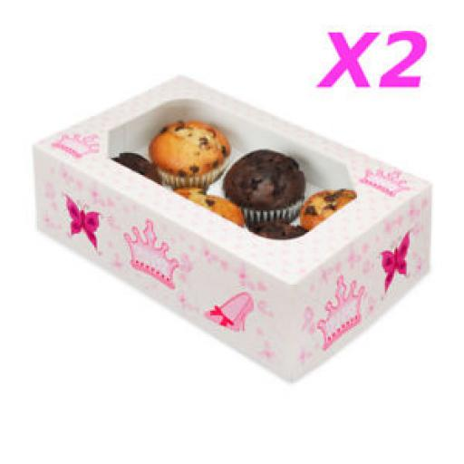 Princess 6 Muffin/Cupcake Boxes 2/Pack