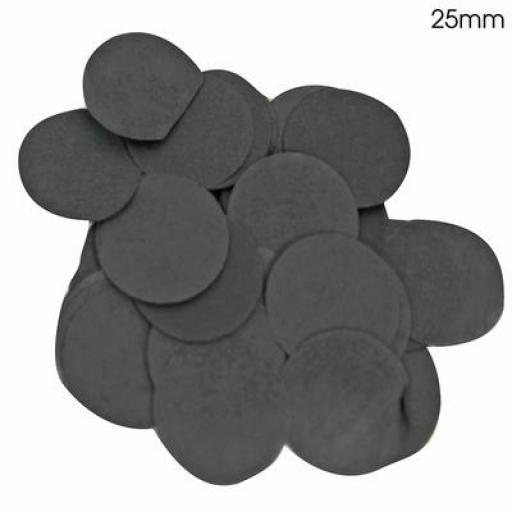 Black Confetti Flame Retardant Round 25mm x 100g Tissue Paper