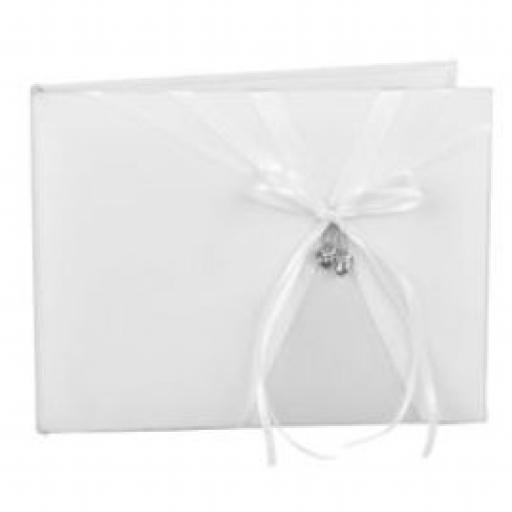 Wedding Photo Album With White satin Bow And Silver Double Heart