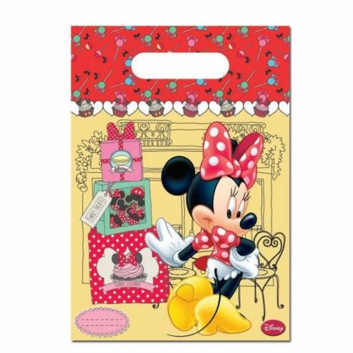 Disney Minnie Mouse Plastic Party Bags Pack of 6