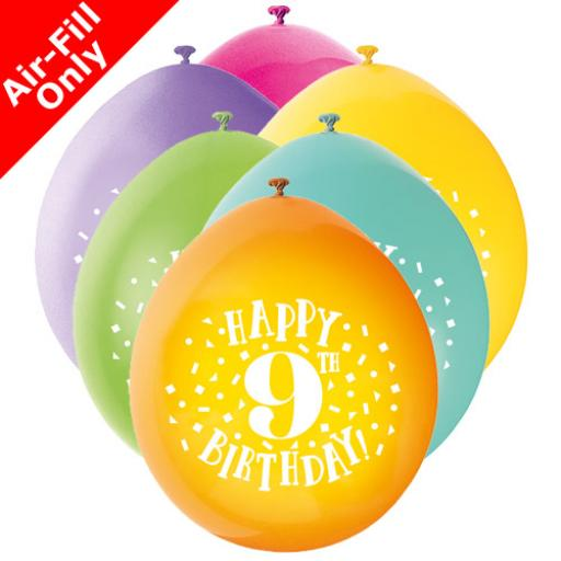9 inch Happy 9th Birthday Latex Air Fill Balloons Pack of 10 Assorted Colours