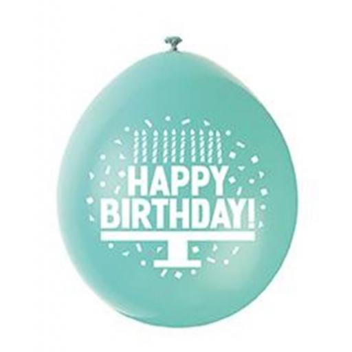 9 inch Happy Birthday Latex Air Fill Balloons Pack of 10 Assorted Colours