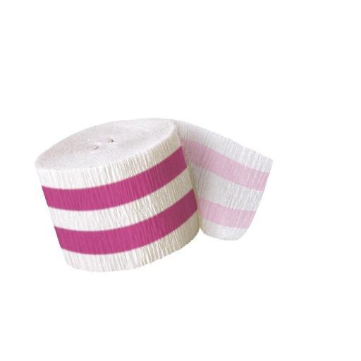 Crepe Streamer 30 ft Hot Pink Stripe