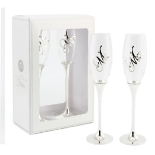 """Mr & Mrs"" Wedding Glass & Silver Plated Champagne Flutes"