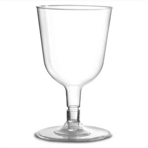8 Disp. Clear Plastic Wine Glasses - 175ml
