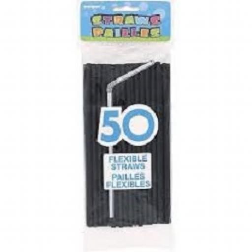 50 Black Flexible Straws