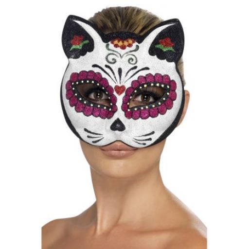 Sugar Skull Cat Glitter Eyemask