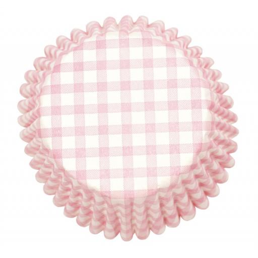 Pink Gingham Printed Baking Cases 54pcs