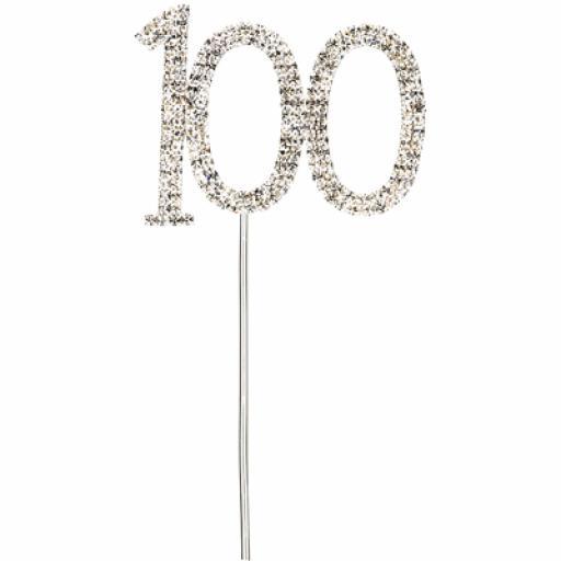 Diamante 100th Birthday Cake Topper Decoration