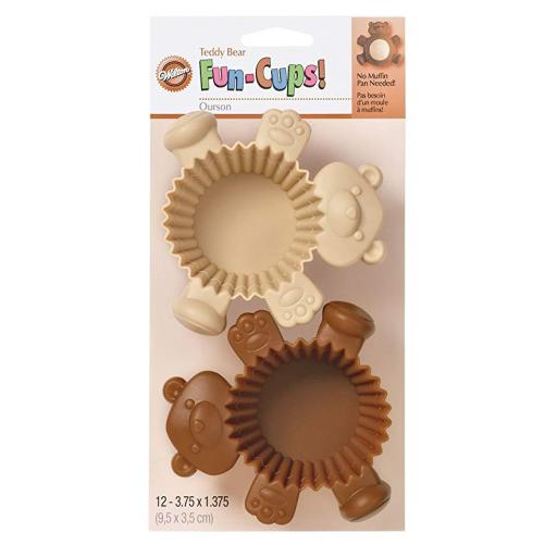Teddy Bear Silicone Fun Baking Cups 12pcs
