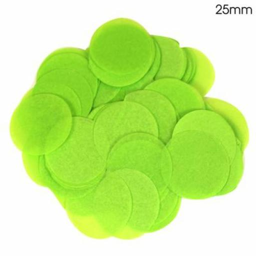 Tissue Paper Confetti Flame Retardant Round 25mm x 100g Lime Green