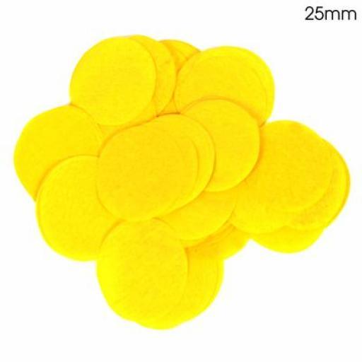 Tissue Paper Confetti Flame Retardant Round 25mm x 100g Yellow