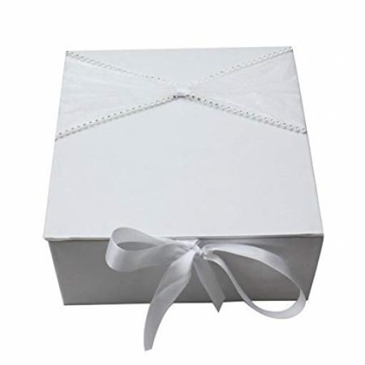 White Satin Wedding Memory Box