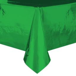 Metallic Green Plastic Table Cover - Rectangle 54x108""