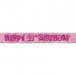 Pink Glitz Happy 13th Birthday Banner 2.74m