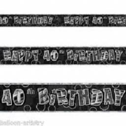 Happy 40th Birthday Black Prismatic Banner 2.74m