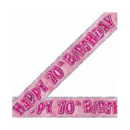Happy 70th Birthday Pink Prismatic Banner 2.74m