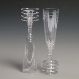 25 Champagne Flutes Clear Plastic Cups In Trays 20cl